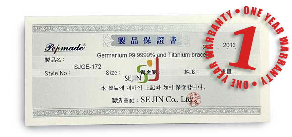 Certificate of Korea made Germanium Titanium Bracelet and Silver Germanium Necklace