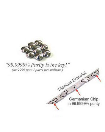 image of 99.9999% Germanium tip cut chip on titanium bracelet
